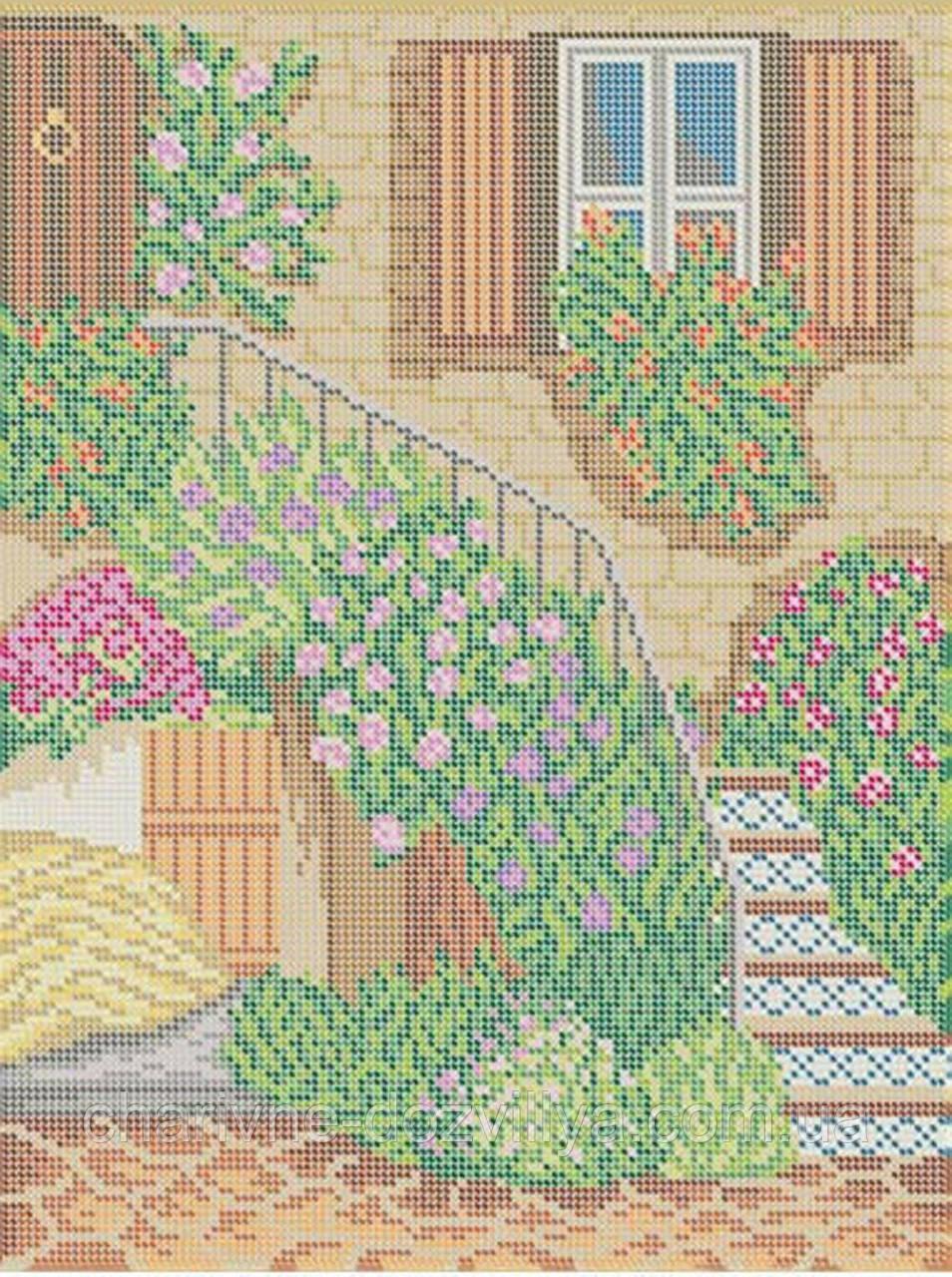 """Схема для вышивки бисером на габардине """"Лестница в цвету """""""