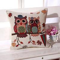 LAIMA BZ001-4 Льняная наволочка на подушку с рисунком сова Разноцветный