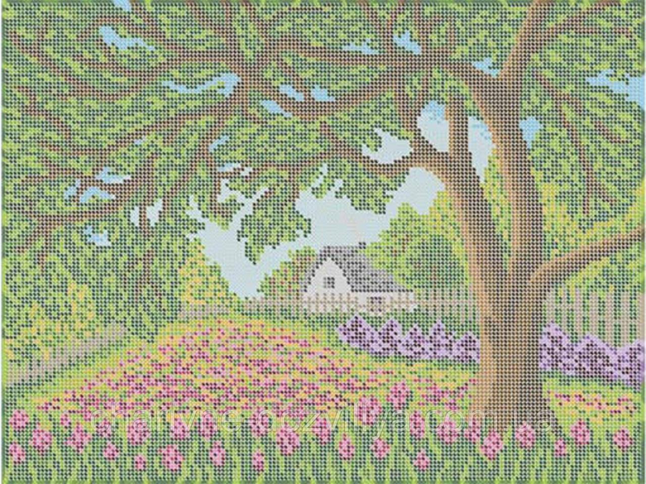 """Схема для вышивки бисером на габардине """"Цветущий сад"""""""