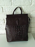 """Кожаный рюкзак-сумка (трансформер) с теснением под рептилию """"Крокодил Brown"""""""