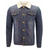 Мужская зимняя повседневная куртка с толстой, флисовой и отворотом джинсовой курткой XL