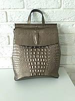"""Кожаный рюкзак-сумка (трансформер) с теснением под рептилию """"Крокодил Bronze"""""""