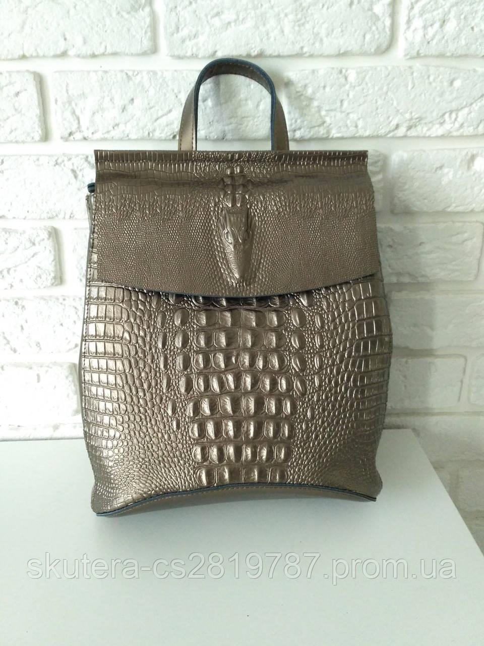 40a6341651b9 Кожаный рюкзак-сумка (трансформер) с теснением под рептилию