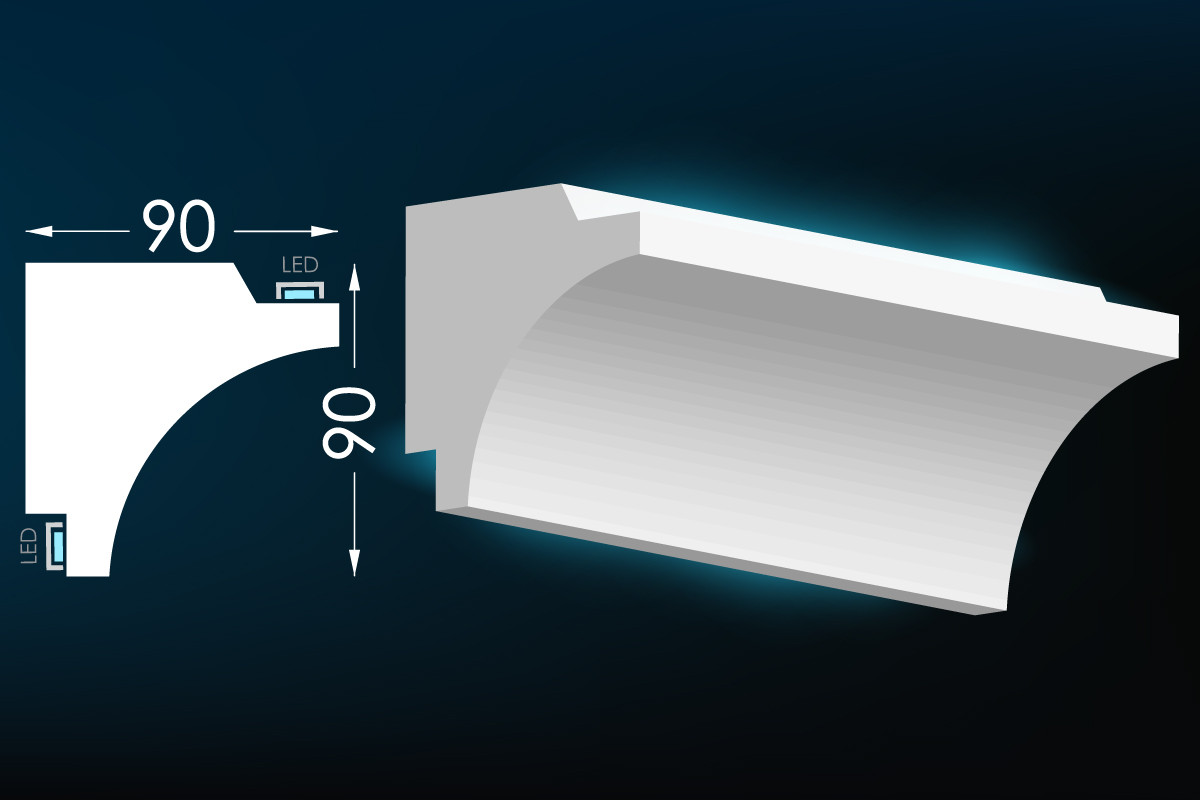 Потолочный молдинг с подсветкой, карниз для скрытого освещения Тс-50