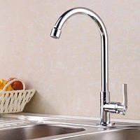 Yuda Одиночный кран для раковины в ванную комнату медь холодная вода Серебристый