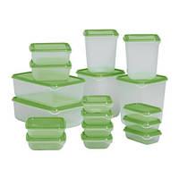 ПРУТА Набор контейнеров, 17 шт., прозрачный, зеленый, 60149673, IKEA, ИКЕA, PRUTA