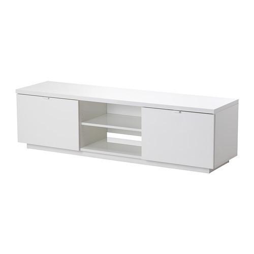 БЮОС Тумба под ТВ, глянцевый белый, 80227797, ИКЕА, IKEA, BYAS