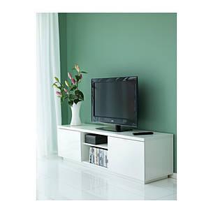 БЮОС Тумба под ТВ, глянцевый белый, 80227797, ИКЕА, IKEA, BYAS, фото 2