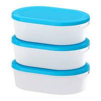 ЙЭМКА Набор контейнеров 3шт., прозрачный белый, синий, 10166071, ИКЕА, IKEA, JAMKA