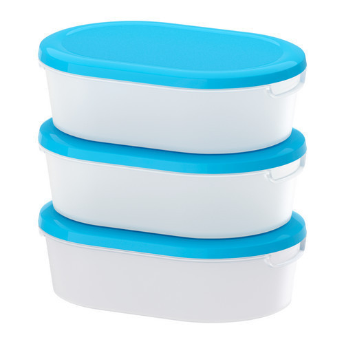 ЙЭМКА Набор контейнеров 3шт., прозрачный белый, синий, 10166071, ИКЕА,