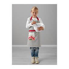 ИНБЬЮДАНДЕ Фартук детский, в горошек и цветочек, 57 см, 70302315, ИКЕА, IKEA, INBJUDANDE, фото 2