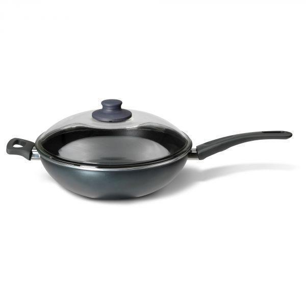 ШЭНКА Вок-сковорода c крышкой, серый, 28см, 60129463 ИКЕА, IKEA, SKANKA