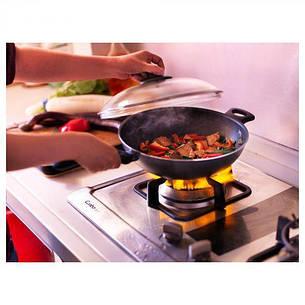 ШЭНКА Вок-сковорода c крышкой, серый, 28см, 60129463 ИКЕА, IKEA, SKANKA , фото 2