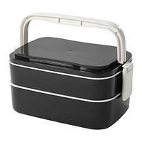 Контейнер для завтрака, черный, белый,  20294860 ИКЕА, IKEA, FLOTTIG