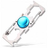 Многофункциональный инструмент в форме спиннера с карабином и шестигранным ключом Синий