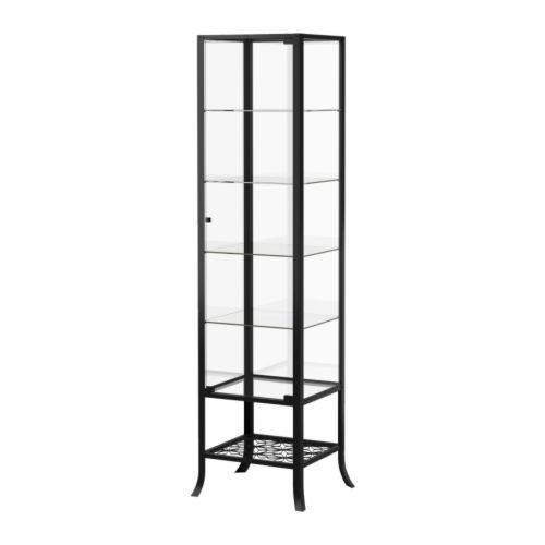 КЛИНГСБУ Шкаф-витрина, черный, прозрачное стекло, 60128562, IKEA, ИКЕА, KLINGSBO