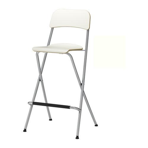 ФРАНКЛИН Стул барный, складной, белый, серебристый, 10199217, ИКЕА, IKEA, FRANKLIN
