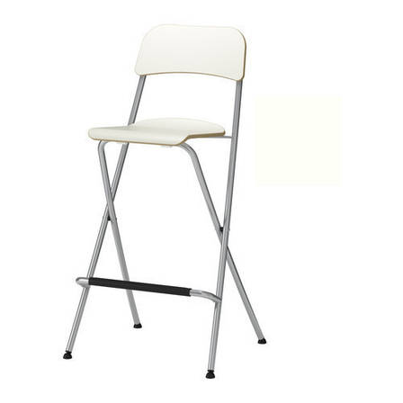 ФРАНКЛИН Стул барный, складной, белый, серебристый, 10199217, ИКЕА, IKEA, FRANKLIN, фото 2