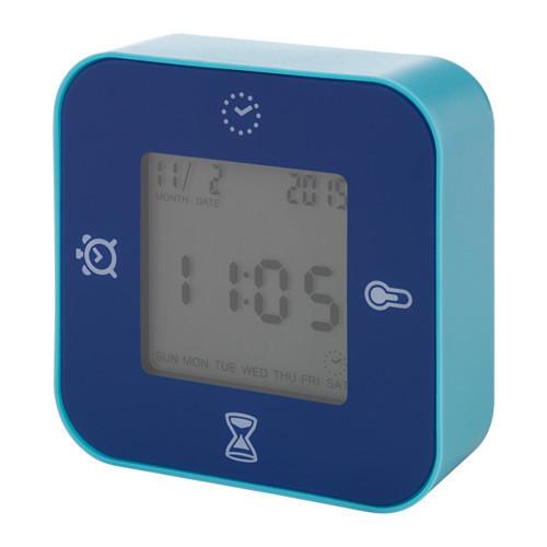ЛОТТОРП часы/терм/буд/таймер, синий, 102429424, ИКЕА, IKEA, LÖTTORP