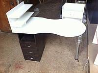 Маникюрный стол складной с выдвижными ящиками и двумя полками для лаков