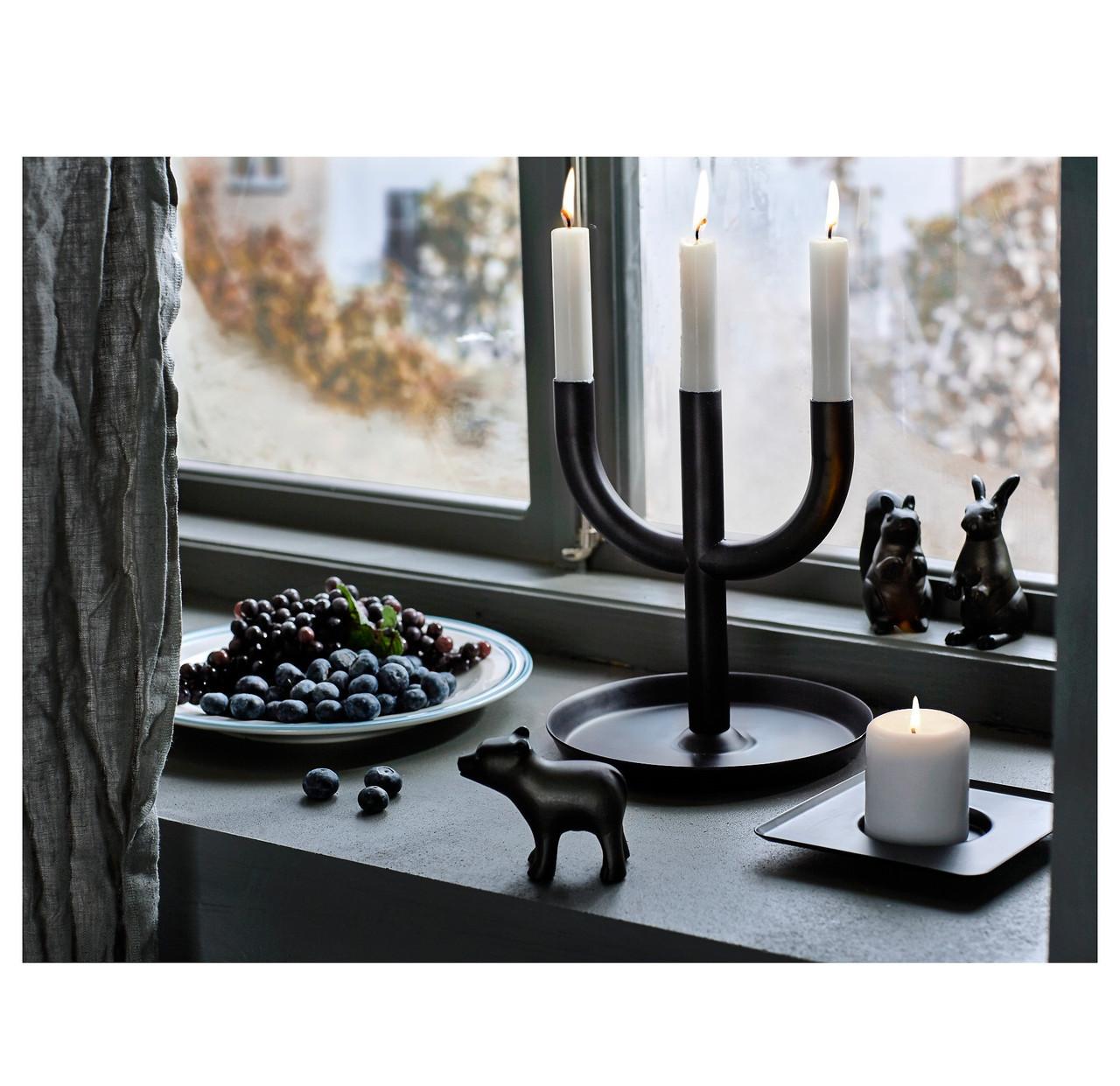 ЭНИГЕТ  Подсвечник для 3 свечей, черный,  70327311, ИКЕА, IKEA, ENIGHET