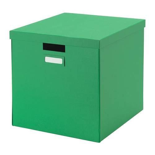 ТЬЕНА Коробка с крышкой, зеленый, 80291991, ИКЕА, IKEA, TJENA
