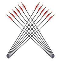 Практичные прочные стрелы для охоты стрельбы из лука 12шт черный и красный