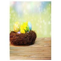 Q4 Полотно для заднего плана фотографии с рисунком Пасхальных яиц в гнезде 20764