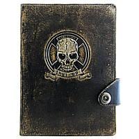 Кожаный блокнот-органайзер Оптимус ручной работы Черный