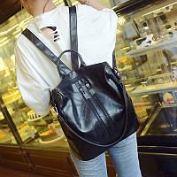 Женский рюкзак-сумка черный с USB выходом