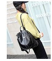 Женский рюкзак-сумка черный с USB