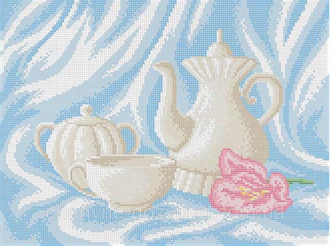 """Схема для вышивки бисером на габардине """"Чайный сервиз"""""""
