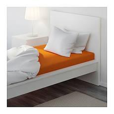 ДВАЛА Простыня натяжная, оранжевый, 90х200 см, 40289626, IKEA, ИКЕА, DVALA, фото 3