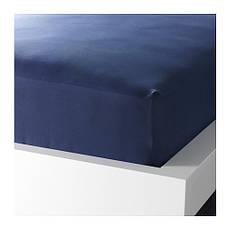 ДВАЛА Простыня натяжная, темно-синий, 160х200 см, 10149996, IKEA, ИКЕА, DVALA, фото 2