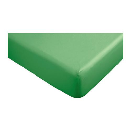 ДВАЛА Простыня натяжная, зеленый, 160х200, 40296472, IKEA, ИКЕА, DVALA