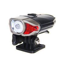Водонепроницаемый передний фонарь для велосипеда с USB зарядкой черный и красный