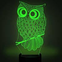 3D лампа-светильник СОВА Объемные 3 D светильники с 7 вариантами подсветки!