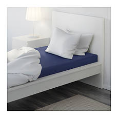 ДВАЛА Простыня натяжная, темно-синий, 90x200 см, 70149998, IKEA, ИКЕА, DVALA, фото 3