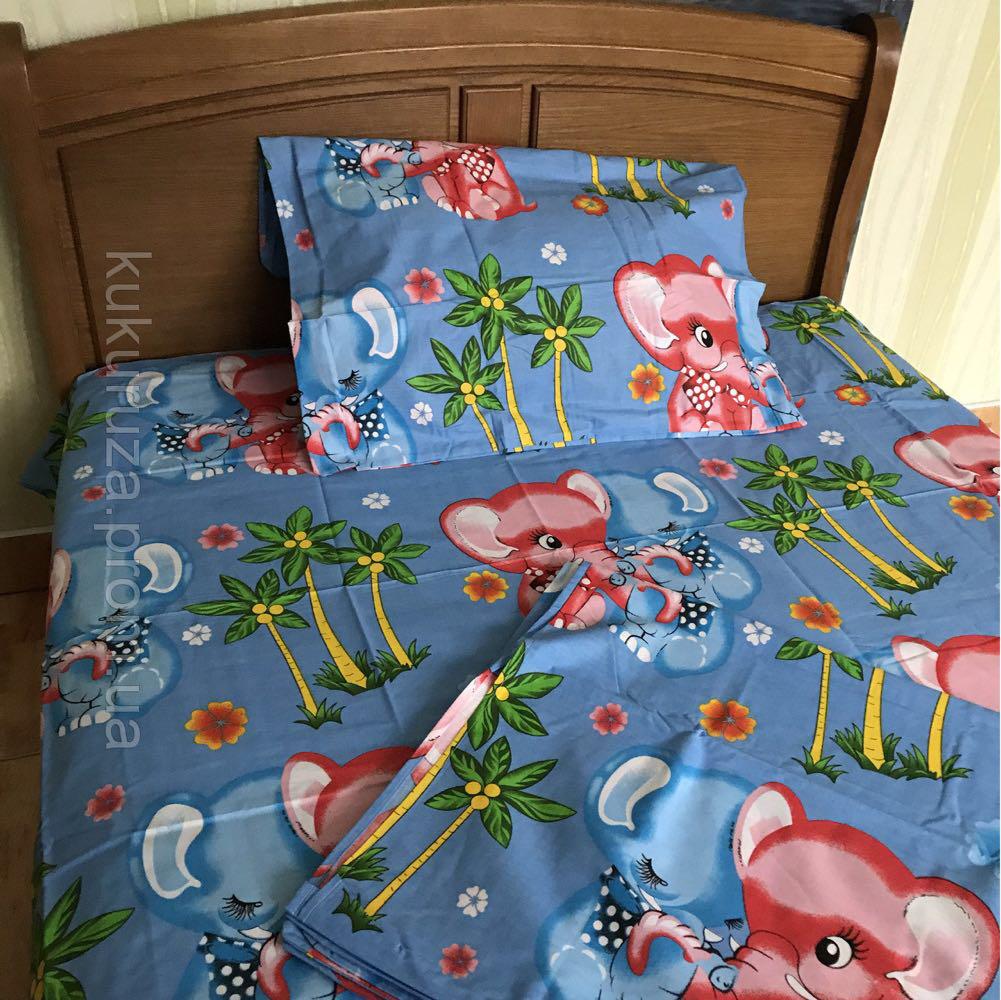 Полуторный комплект постельного белья 150х220 из бязи Влюбленные слоны