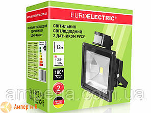 Прожектор світлодіодний з датчиком руху EUROELECTRIC LED COB 30W 6500K, фото 2