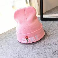 Модная женская трикотажная шапка GIRL розового цвета