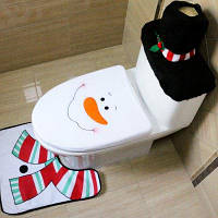 Набор для туалета чехол коврик в виде Деда Мороза 3шт Узор Снеговика
