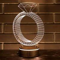 3D лампа-светильник КОЛЬЦО Объемные 3 D светильники с 7 вариантами подсветки! , фото 1