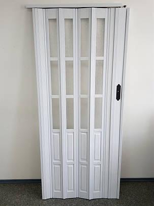Межкомнатная раздвижная полу остекленная дверь  белый ясень 610,860х2030х12мм, фото 2