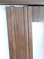 Межкомнатная дверь гармошка 860х2030х12мм полу остекленные  дуб темный 7036, фото 3