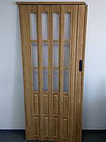 Дверь гармошка полуостекленные  дуб матовый 802,860х2030х12мм, доставка по Украине