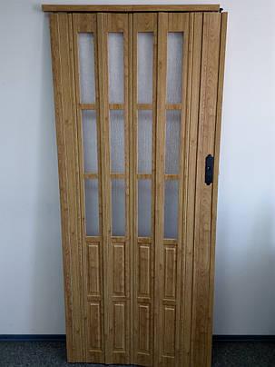 Дверь гармошка полуостекленные  дуб матовый 802,860х2030х12мм, доставка по Украине, фото 2