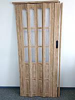 Дверь гармошка полуостекленные  вяз 805, 860х2030х12мм, доставка по Украине
