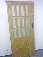 Межкомнатная раздвижная полу остекленная дверь  белый ясень 610,860х2030х12мм