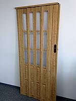 Двери гармошка полуостекленные 860*2030*12мм, доставка по Украине